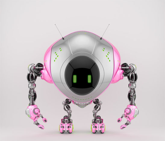 Girlish pink robot fox with digital screen