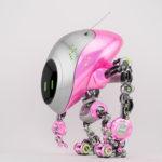 Pink-grey robot fox with digital screen in side 3d render