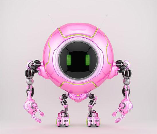 Smart pink robotic creature de-bot, 3d illustration
