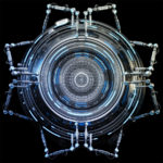 Robotized circle abstraction on dark background, futuristic 3d illustration