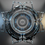 Robotized circle abstraction on metal background, futuristic 3d illustration
