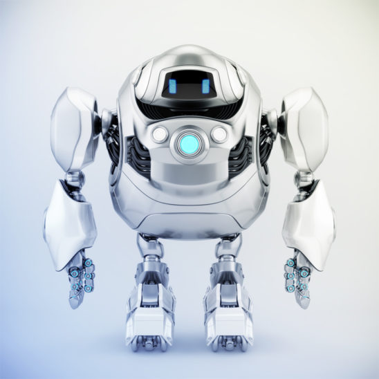 Huge silver robotic turtle with glowing circle, 3d render