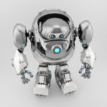 Silver-white robotic turtle in upper view 3d render