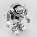 Silver-white robotic turtle in upper side view 3d render