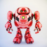 Juicy red robotic turtle with huge body frame, 3d character rendering