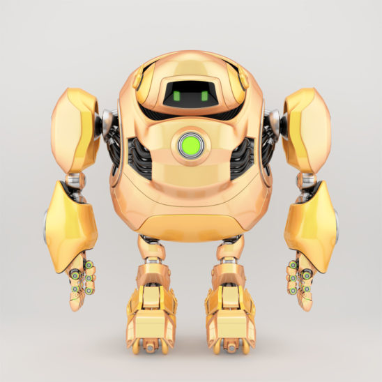 Juicy yellow robotic turtle with huge body frame, 3d character rendering