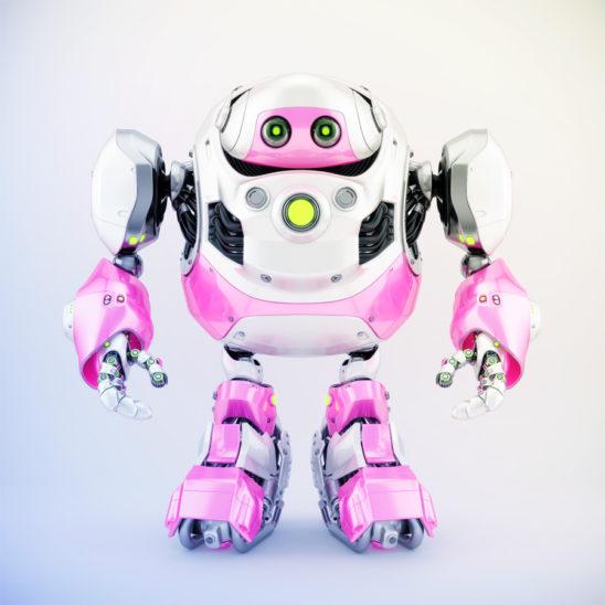 Girlish white-pink cyborg turtle, 3d render
