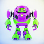 Toxic cyber turtle in bright violet-green colors in front 3d render
