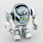 Grey-blue robotic turtle in upper side view
