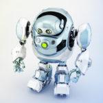 Grey-blue robotic turtle in upper side view, cyber animal 3d rendering