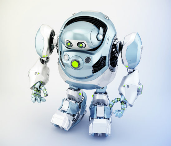 Grey-blue robotic turtle in upper side view, cyber animal 3d rendering