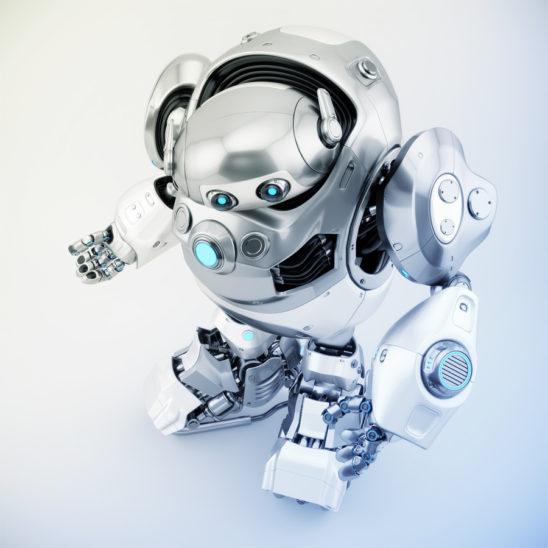 Huge gesturing cyber turtle in upper view, robotic character 3d rendering