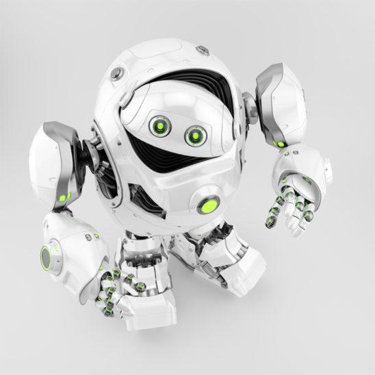 Massive robotic turtle looking from upper view, 3d rendering
