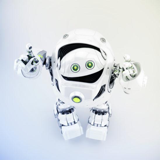 Huge robotic turtle gesturing in upper front pose, 3d rendering