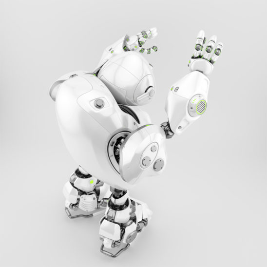 Robotic turtle with raised arms in backwards pose, 3d render