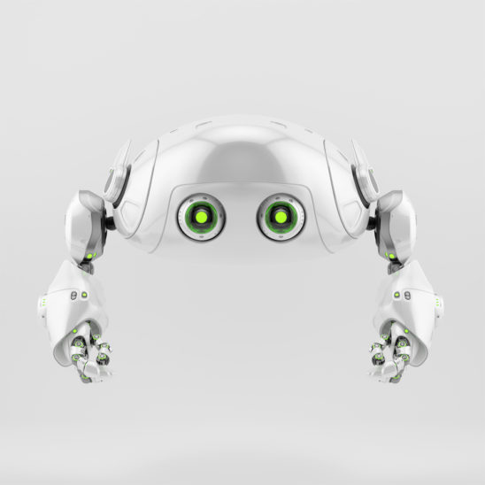 Flying aerial robotic turtle character in front rener