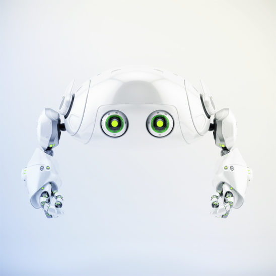 Flying aerial robotic turtle character in front 3d render