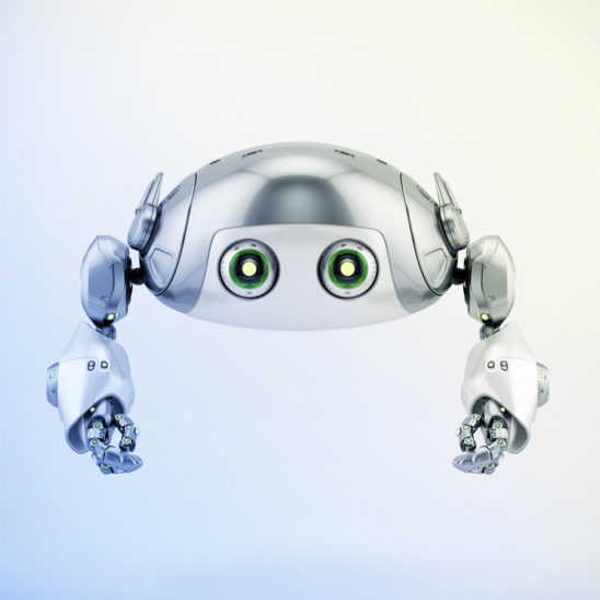 Flying silver aerial robotic turtle character in front 3d render