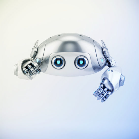 Flying silver aerial robotic turtle character with blue illumination, pointing on you character 3d render