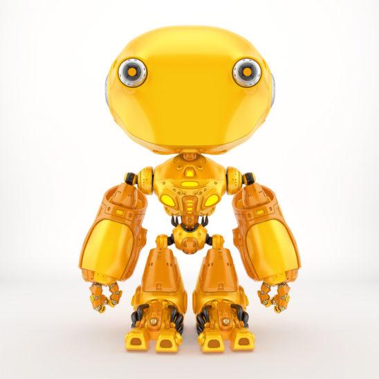 Unique toy - ant like robot in bright orange color, front pose 3d render