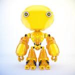 Unique toy - ant-like robot in bright orange color, front pose 3d render