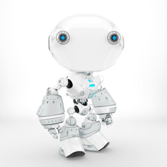 Ant-like robot in clean white color, side pose 3d render
