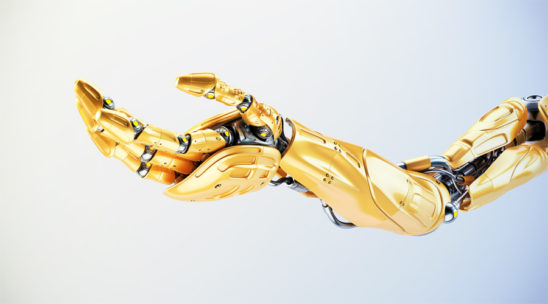 Juicy orange robotic arm in streched pose, 3d rendering