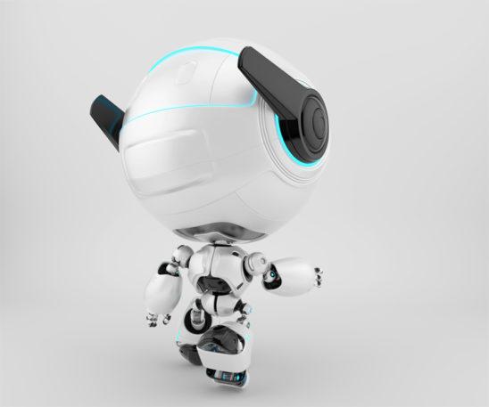 Smart cutan walking robot backwards, 3d toy character rendering