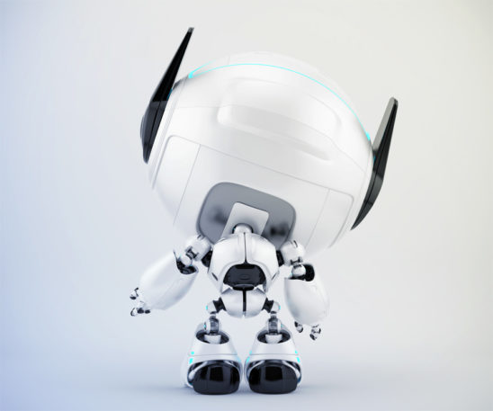 Smart cutan with raised arm backwards, 3d toy character rendering