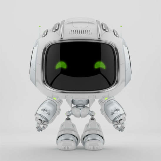 mini unit 9 with green digital eyes, 3d rendering
