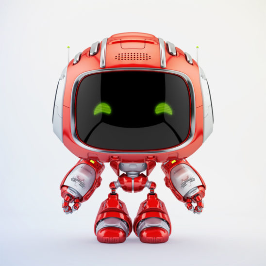 Red mini unit 9 with green digital eyes, 3d rendering