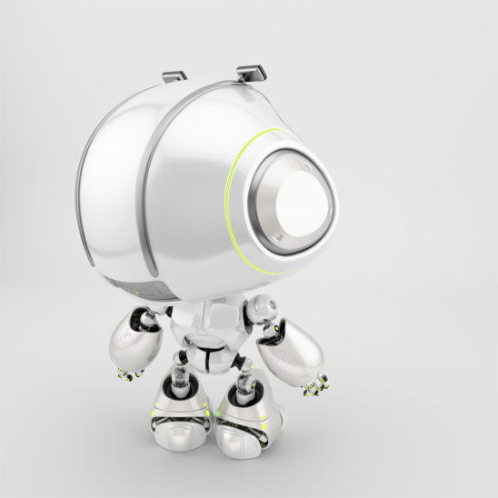 Mini unit 9 backwards with big eyebrows, 3d rendering