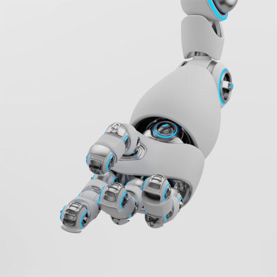 White matte cartoon robotic hand