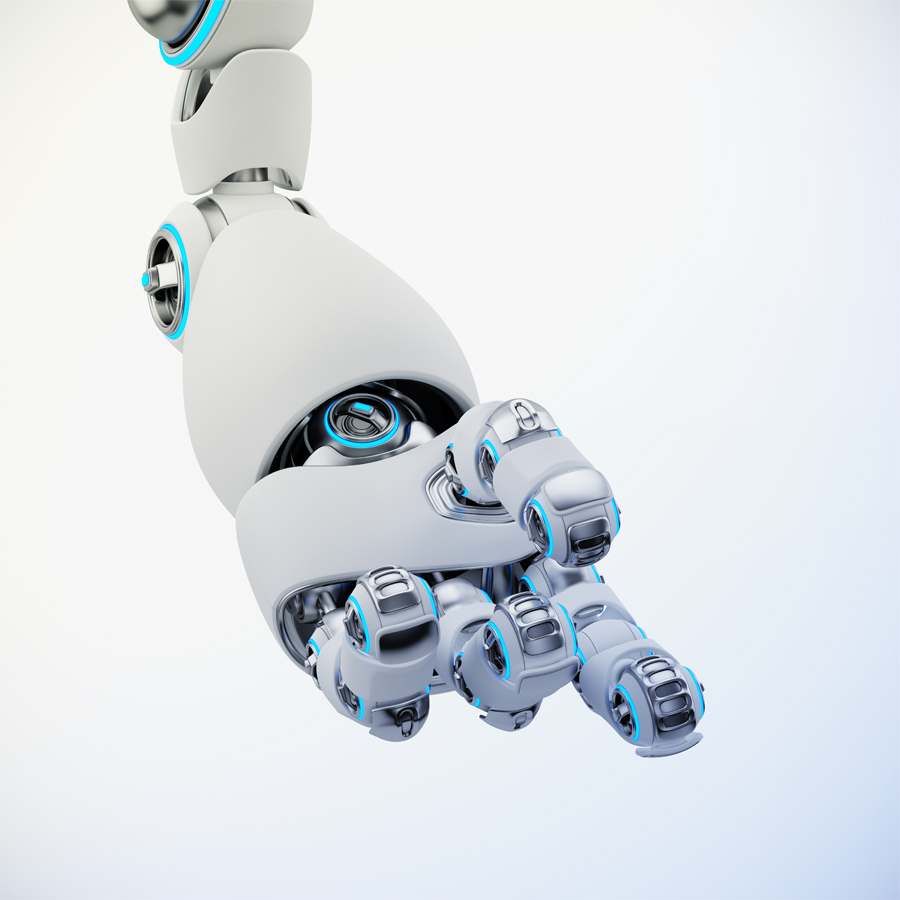 White matte cartoon robotic hand 3d rendering. Pointing finger with illuminated parts.