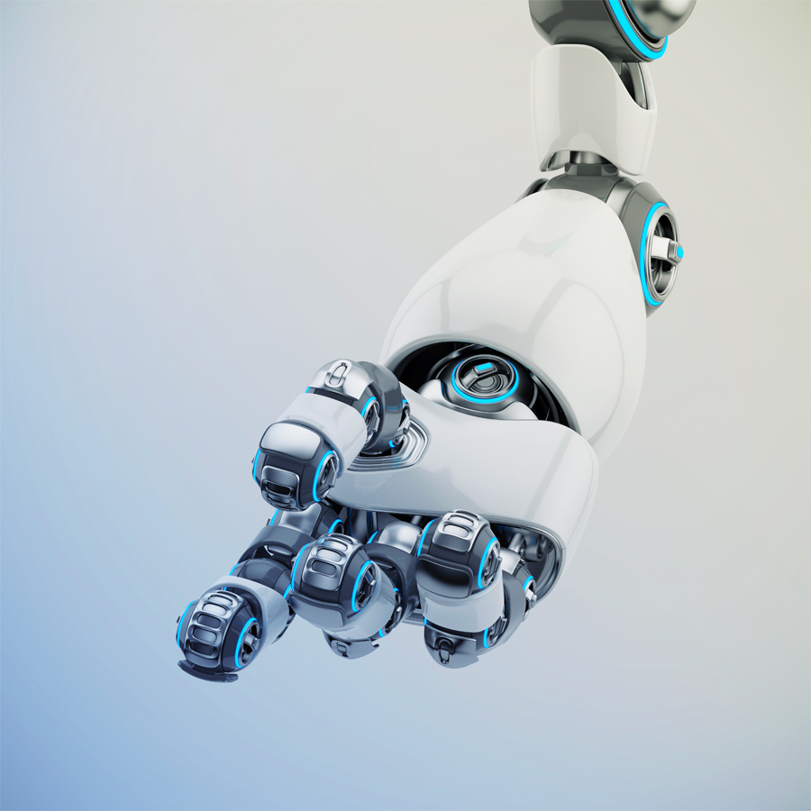 Shiny white cartoon robotic hand 3d rendering. Pointing finger with illuminated parts