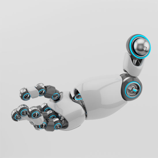 White-grey cartoon robotic arm in side 3d rendering