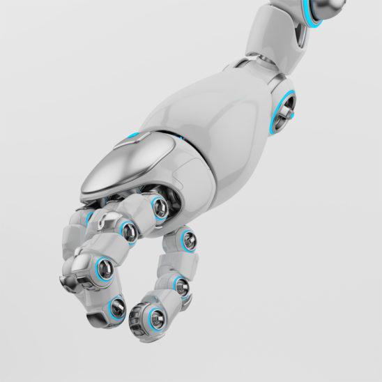 Cartoon robotic arm with silver parts and blue illumination
