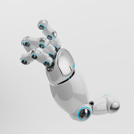 Showing cartoon white robotic arm with silver parts and blue illumination
