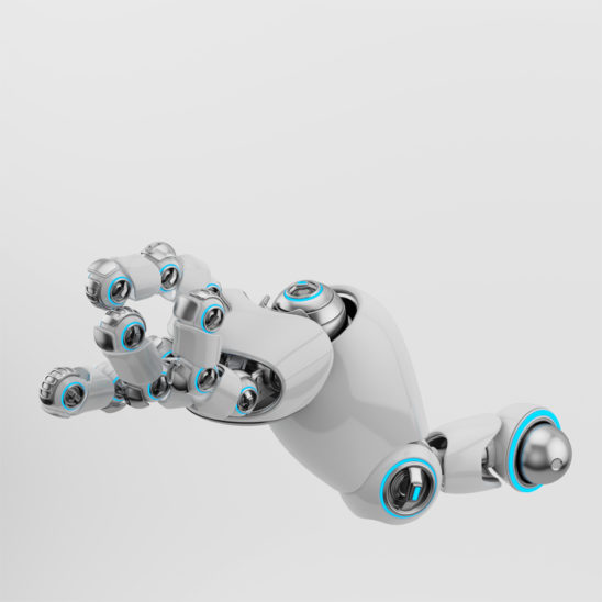 Asking cartoon white robotic arm with silver parts and blue illumination