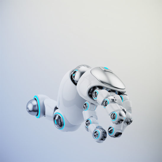 Pointing white cartoon robotic hand 3d rendering. Pointing finger with illuminated parts