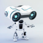 Gesturing white look-see robot with blue illumination, 3d rendering