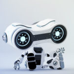 Sitting white look-see robot with blue illumination, 3d rendering