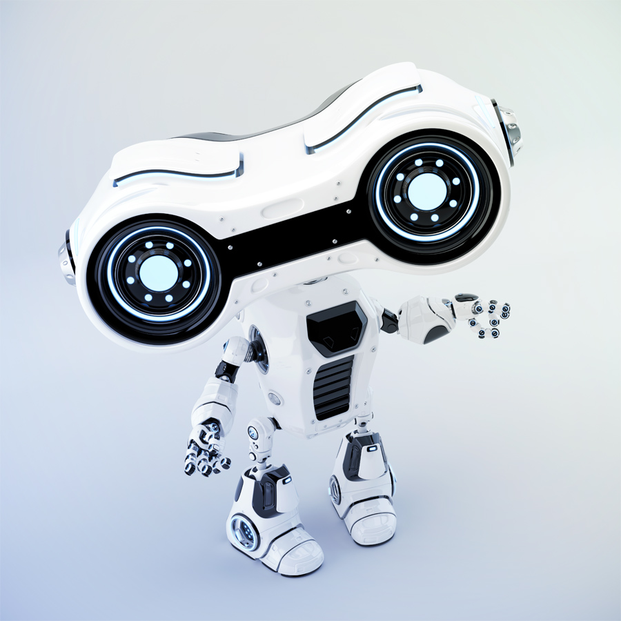 Pointing white look-see robot 3d rendering