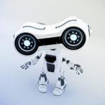 Gesturing white robot look-see with binoculars, 3d rendering