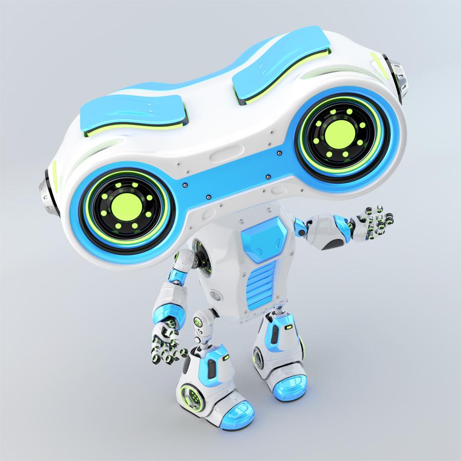 Gesturing light blue robot look-see with binoculars in upper view, 3d rendering