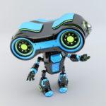 Black blue robotic toy look-see