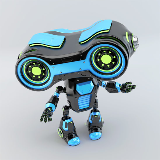 Black blue robotic toy look-see