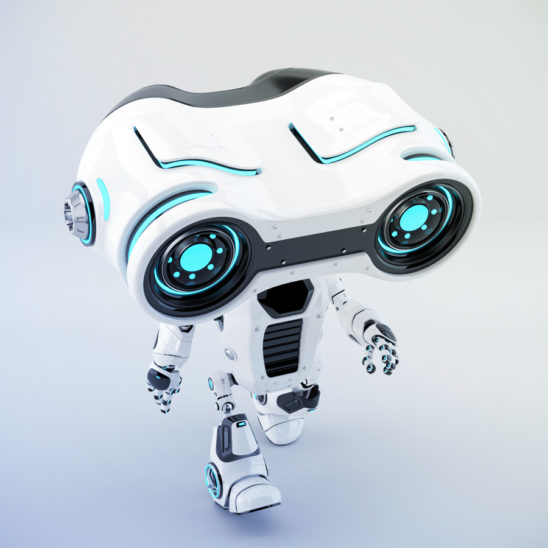 Walking look-see robot with big head binoculars, 3d rendering in upper view