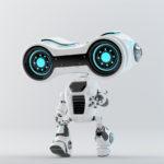 Walking look-see robot with big head binoculars, 3d rendering