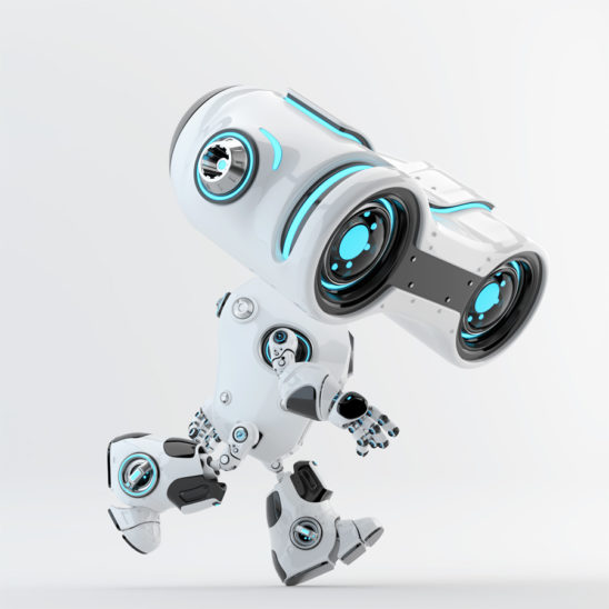 Running look-see robot with big binocular head looking down, 3d rendering